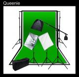 2000W Softbox Continuous Lighting Boom Kit with 6 x 9 ft. White Black Green Chromakey 3 Double Muslin Backdrop